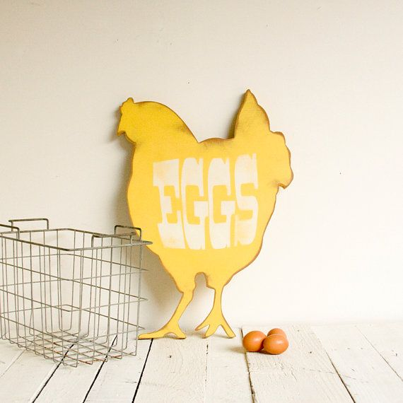 Eggs Farm House Vintage Inspired Wood Sign Yellow by EdiesLab, $50.00 (for the chicken coop?)
