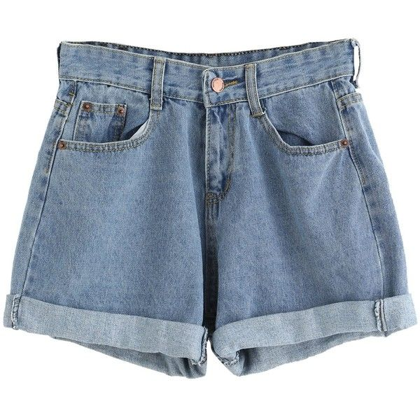 SweatyRocks Women's Retro High Waisted Rolled Denim Jean Shorts With... ($16) ❤ liked on Polyvore featuring shorts, pocket shorts, short jean shorts, high-waisted jean shorts, high-rise shorts and rolled shorts