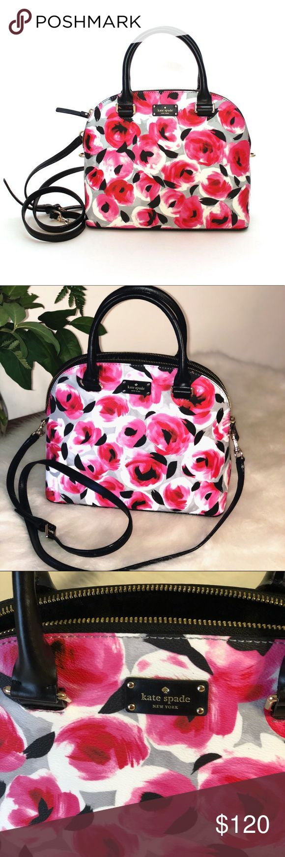 "NEW Grove Street Carli Rose bed shoulder Bag 100% authentic.  Rose bed printed canvas with black leather trim.  14-karat light gold plated hardware.  Zip top closure and fabric lining. Inside zip and slip pockets. Double handles drop 4"". Measures 11.5"" (L) x 9"" (H) x 4.75"" (W). Longer detachable and adjustable strap for shoulder and crossbody wear.  Brand new wot. Comes from a pet and smoke free home. kate spade Bags Shoulder Bags"