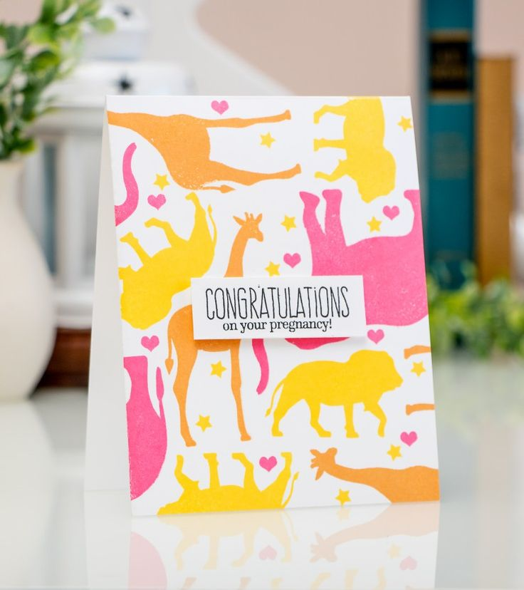 Congratulations on your pregnancy using Baby Zoo stamp set from Altenew