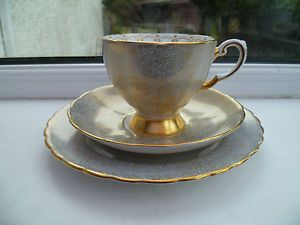 Vintage-Tuscan-English-China-Trio-Tea-Cup-Saucer-Plate-Pale-Blue-Gilded-C-9259