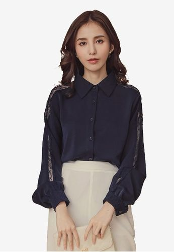 74f8f0bc94724 Lace panelled sleeve shirt- Collared neckline- Unlined- Regular fit- Front  button fastening- Polyester