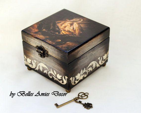 Wooden jewelry box  dragon gift  fantasy art  by BellesAmiesDecor