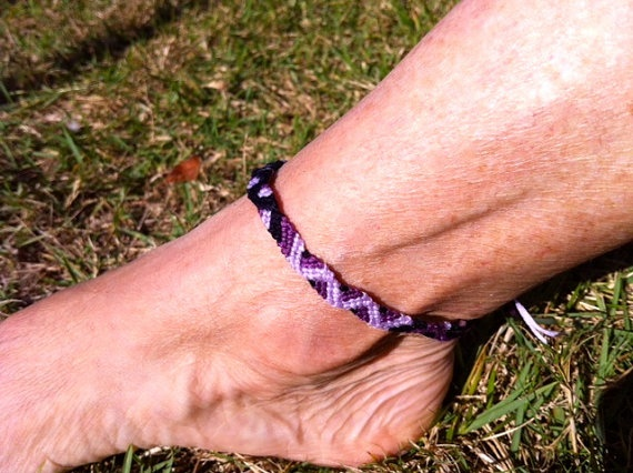 Purple Wave String Anklet by StringBeaner on Etsy, $10.00