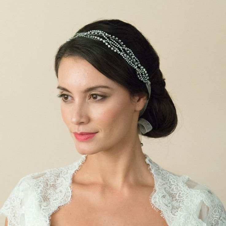 Pleated Diamante Bridal Headband – A truly fabulous design & not surprisingly one of our regular best selling headpieces. Rhodium plated (for a darker antique silver finish) vines playfully interweave with each other, all 3 have been lavishly decorated with Swarovski crystals (which have been cut with facets so that they mimic the sparkle of diamonds) & cut solitaire stones. In turn the detailing is attached to soft ivory organza ribbon