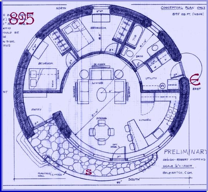Straw Bale House Plan (895 Sq. Ft.) SPIRAL.. but with the kitchen in the center and a rocket heater, to heat the entire house in winter