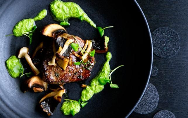 Tournedos med stegte svampe og brøndkarsecreme