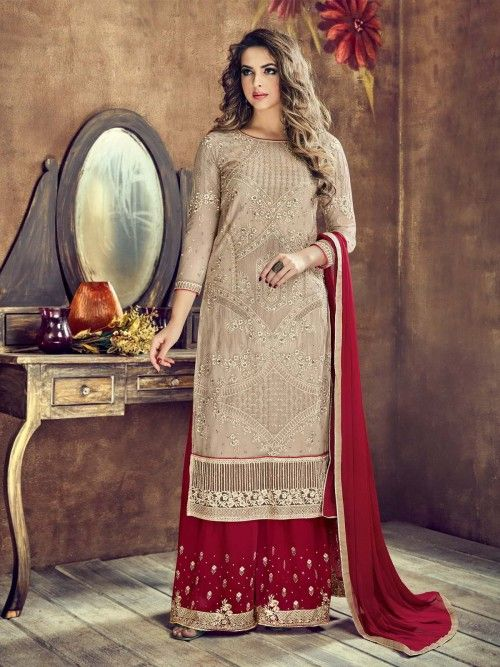 dee001a5bf Exotic beige and red partywear palazzo suit online which is crafted from  net fabric with exclusive embroidery work. This stunning designer palazzo  suit ...
