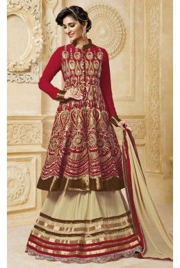 Red And Beige #Georgette #Embroidered #JacketStyle #Suit - #deepkalasilk