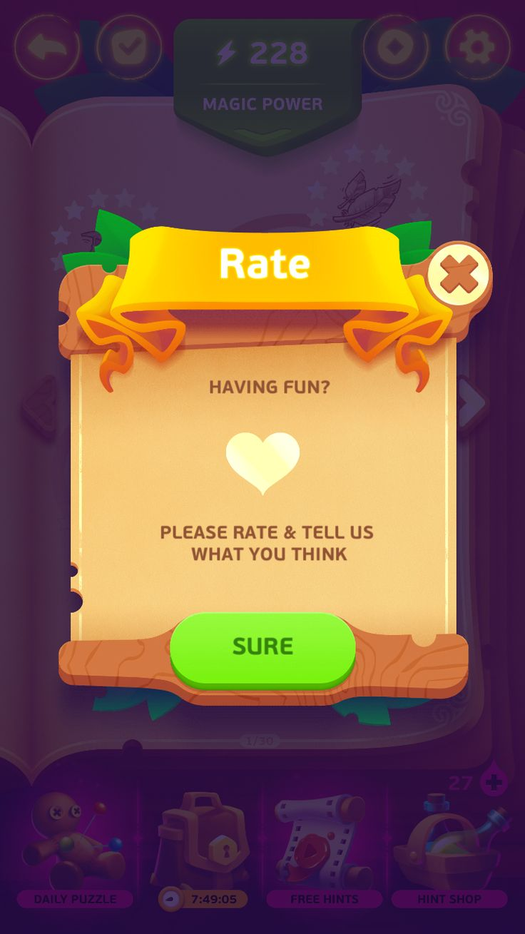 Under a spell - game ui - rate