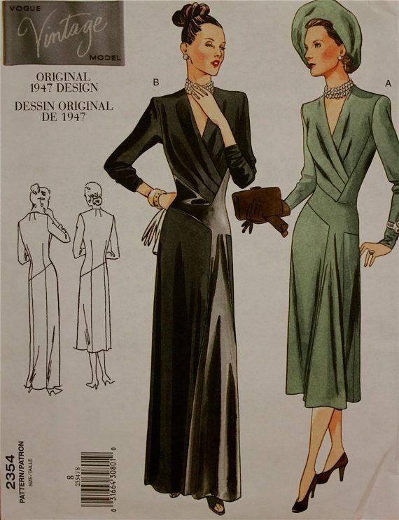 vogue vintage evening gown pattern reprint | 1940s Dress Reprint Vintage Vogue Pattern 2354 Uncut Size 8 Bust 31.5 ...
