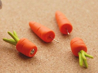 Handmade Carrot Fimo Stud Earrings