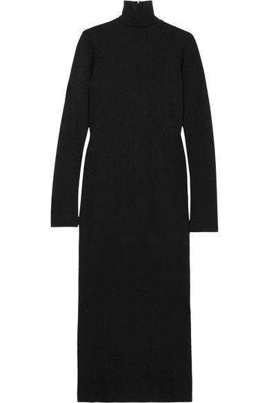 Haider Ackermann - Wool And Cotton-blend Jersey Turtleneck Midi Dress - Black