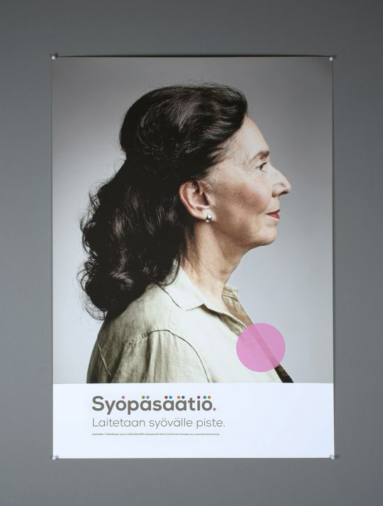Erase breast cancer. Full stop. Poster for Cancer Society of Finland.