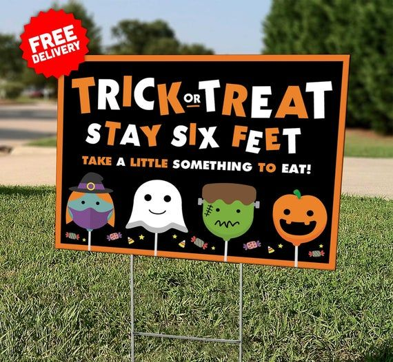 Halloween Yard Sign Trick Or Treat Lawn Sign Etsy In 2020 Halloween Yard Signs Halloween Yard Fun Halloween Games