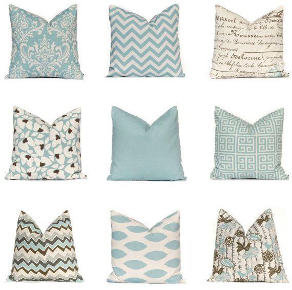 Decorative Pillow, Throw Pillow, Pillows, Toss Pillow, Accent Pillow, Village Blue and Natural, 1- 22 x 22 on Etsy, $19.00