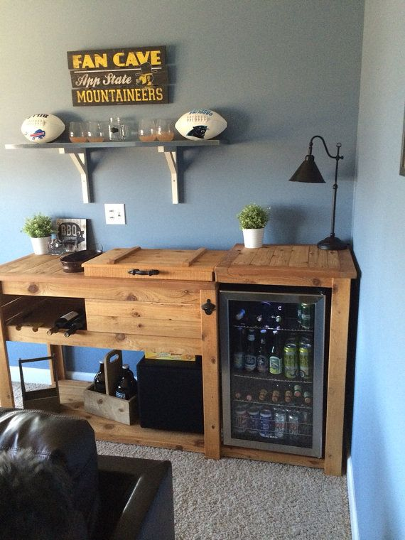 Rustic Cooler Cabinet Outdoor Bar Serving Table by RusticWoodWorX