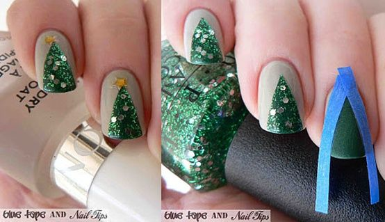 """Cute Christmas Tree Manicure by Blue Tape & Nail Tips"" -- This photo is all the instruction there is."