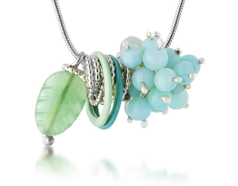 Berries Pendant with Amazonite and Aventurine (sterling silver, amazonite, aventurine, bra bits).     Made by @Alison Macleod, one of her most popular design now available from Spring Fling webshop for as little as £65.00!