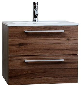 "CBI Caen 24"" Wall-Mounted Single Bathroom Vanity Set in Walnu RS-DM600-WN - contemporary - Bathroom Vanities And Sink Consoles - ConceptBaths"