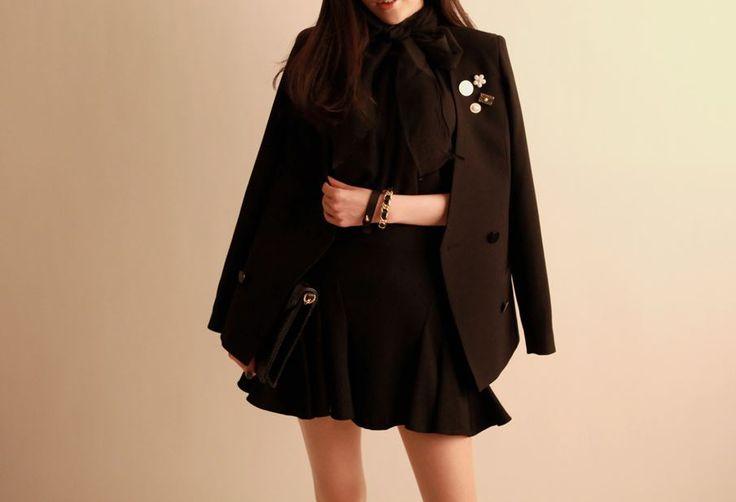 Korea feminine clothing Store [SOIR] Snap Jacket    / Size : FREE / Price : 79.35USD #korea #fashion #style #fashionshop #soir #feminine #unique # special #party  #jacket #black