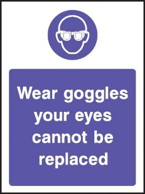 Wear goggles - your eyes cannot be replaced warning sign