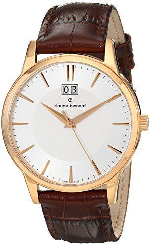 Claude Bernard Men's 63003 37R AIR Classic Gents Analog Display Swiss Quartz Brown Watch - http://buyonlinemakeup.com/claude-bernard/claude-bernard-mens-63003-37r-air-classic-gents