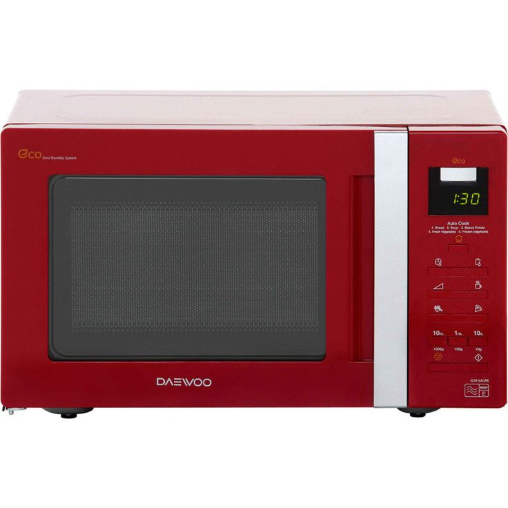 Daewoo Digital Eco Red Microwave Oven 20 Litre Red 800w has a 1 Year Warranty.  Daewoo microwaves are the ideal size for reheating or defrosting ingredients in a hurry. This 20 litre cavity has enough space to fit a large dinner plate inside. You can enjoy even cooking results, so your chocolate is evenly melted or defrost meat to make a delicious stew. It has 4 auto cook menus, so you don't need to worry about working out cooking times and temperatures.