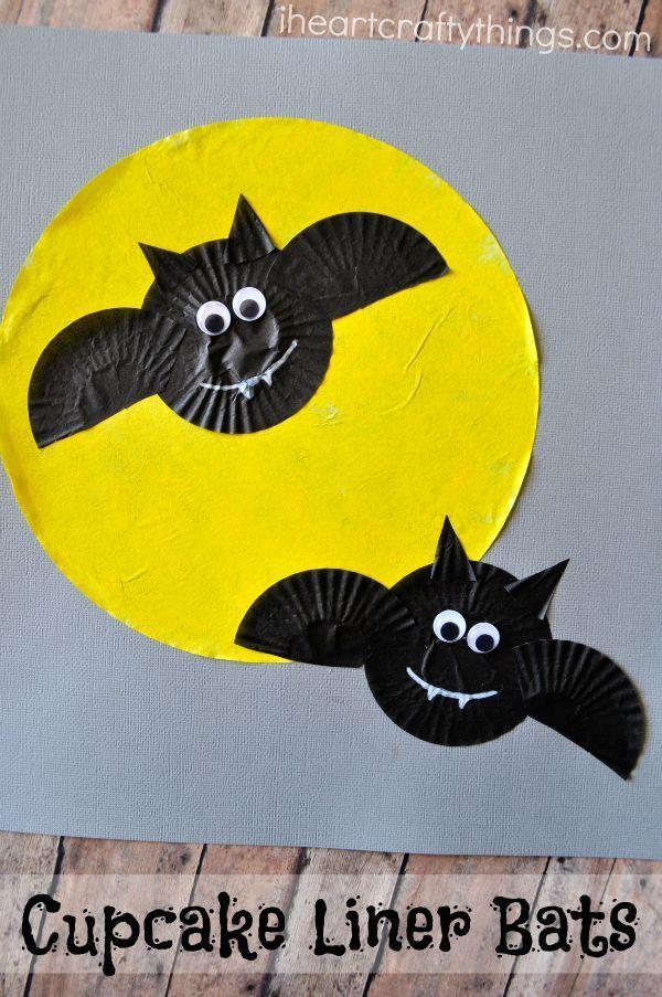 Cupcake Liner Bats Halloween Craft for KIds