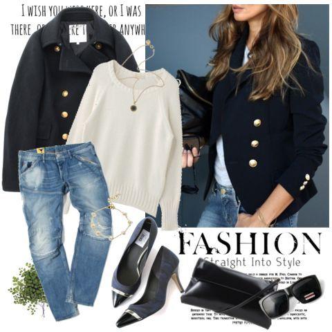 『ボーイズデニムにシンプルな白のニットを合わせて。 ピーコートを羽織ってメンズライクに! 足元はメタルのパンプスで女性らしく♪』sanaさんの提案する着こなし/コーディネート。iQON(アイコン)は人と人とのつながりから、新しいファッションを発見できるサービスです。
