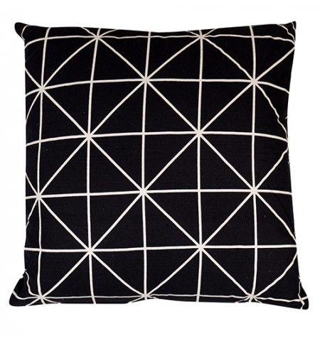 Coussin coton imprimé Scandinave noir