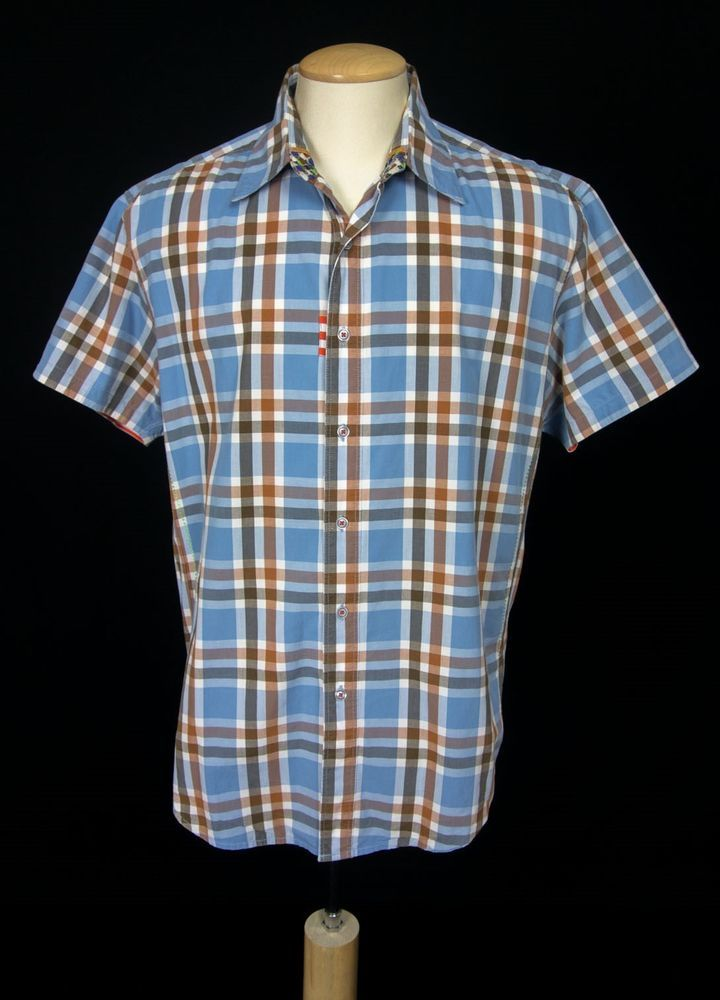 ROBERT GRAHAM Men Shirt Size XL Extra Large Plaid Short Sleeve Freshly Laundered #RobertGraham #ButtonFront