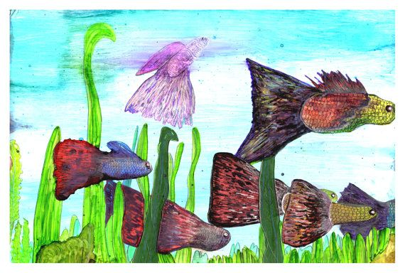 P18  Guppies Fish Swimming Art Postcard by bRiANmoSsARt on Etsy, $0.60