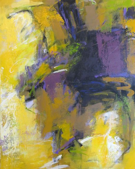 Yellow Abstraction color study 20x16 acrylic on canvas by Debora L. Stewart