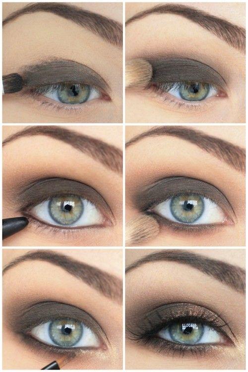 Brown smokey eyeshadow. Makeup. Eye shadow.