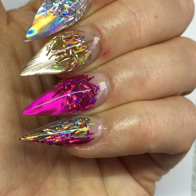 Party Time 🎉💥 Holographic Magic 💿💿💿 Sculptured Acrylic with @glitterblendz…