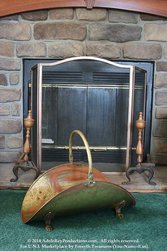 RARE ANTIQUE: 1800s Period Brass Fireplace Set (Screen, Andirons, & Wood Caddy), $1600.00