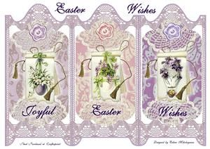 Cottage Chic Vintage Easter Wishes Trifold Panel Screen Card