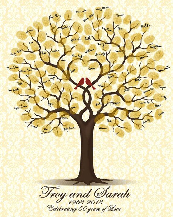 50th Wedding Anniversary Gift - Personalized Golden Anniversary - Printable JPEG Guest Book with Love Birds - Fingerprint Signature Tree