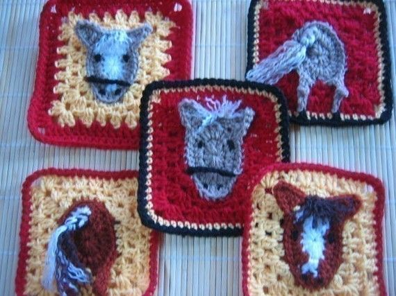 Brumby Horse Square rugalugs crochet pattern. by crochetroo