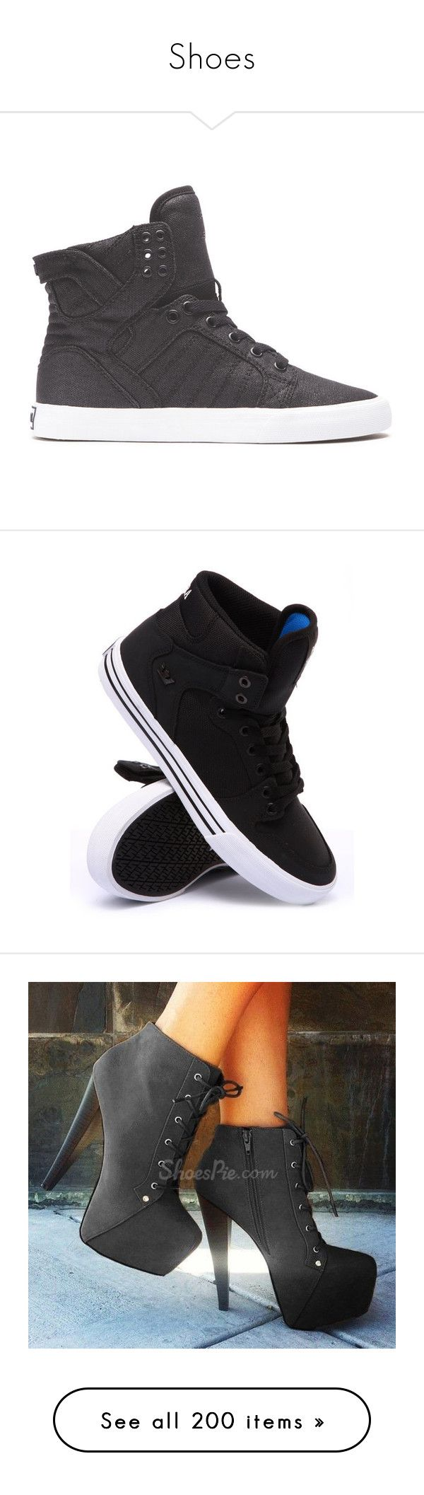 """""""Shoes"""" by looking-fly ❤ liked on Polyvore featuring shoes, black, black shoes, black high tops, supra footwear, high top shoes, kohl shoes, sneakers, sapatos e supra shoes"""