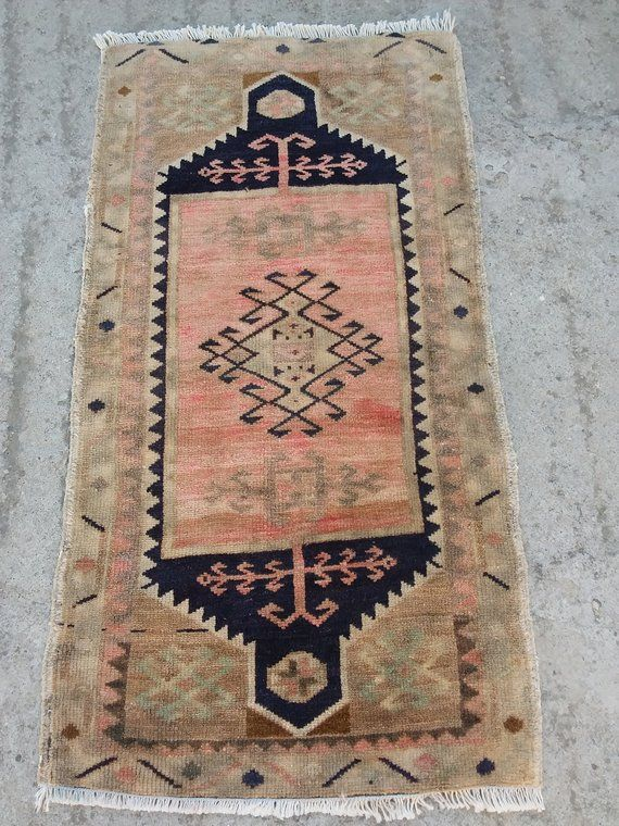 Small Rug Turkish Oushak Rug Vintage Turkish Yastik Bedside Rug
