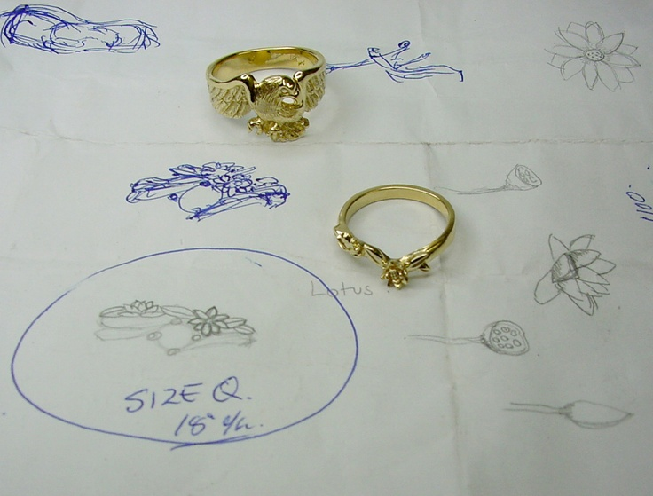 Sketching for the Eagle and Lilly Wedding rings
