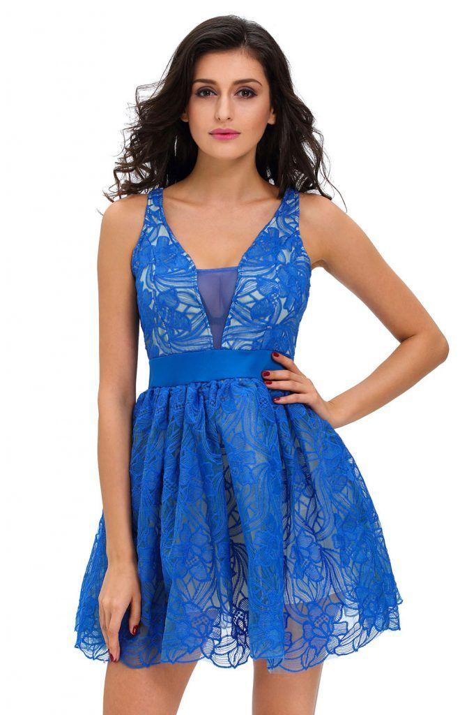 Vestido azul royal Elvira