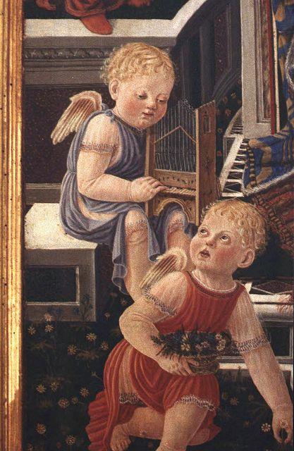 MADONNA dell'Orchestra, post 1448    Angel with portable organ (detail).   In the Galleria Nazionale dell' Umbria : Giovanni Boccati [1420 -1480 ca.]  Perugia, chiesa dei Santi Simone e Giuda (chiesa del Carmine) tempera su tavola