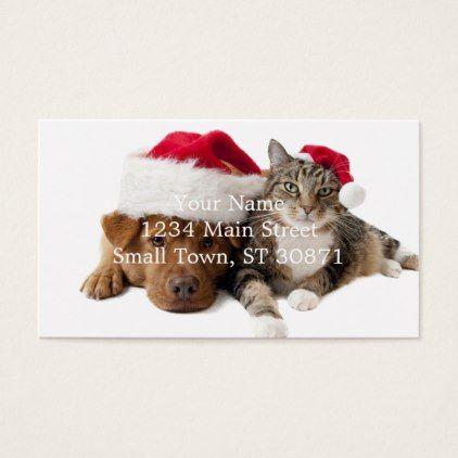 Cats and dogs - Christmas cat - christmas dog Business Card - merry christmas diy xmas present gift idea family holidays
