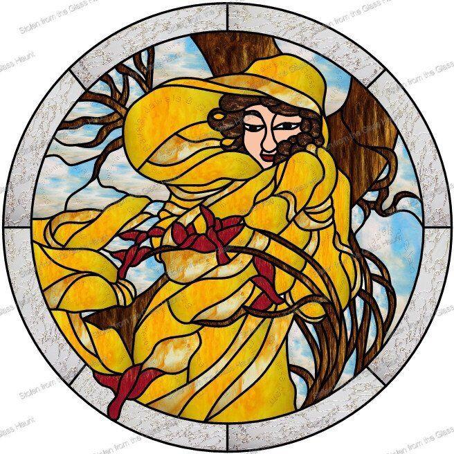 "Alphonse Mucha 2 February 24"" Stained Glass Pattern  Artist Ruth Green"