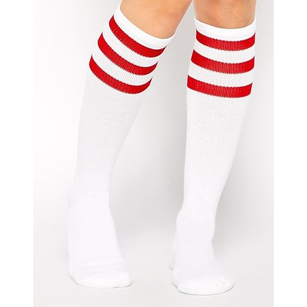 American Apparel Knee High Striped Sock ($12) ❤ liked on Polyvore featuring intimates, hosiery, socks, meias, socks/tights, white and red, cuff socks, white striped socks, red knee high socks and striped socks