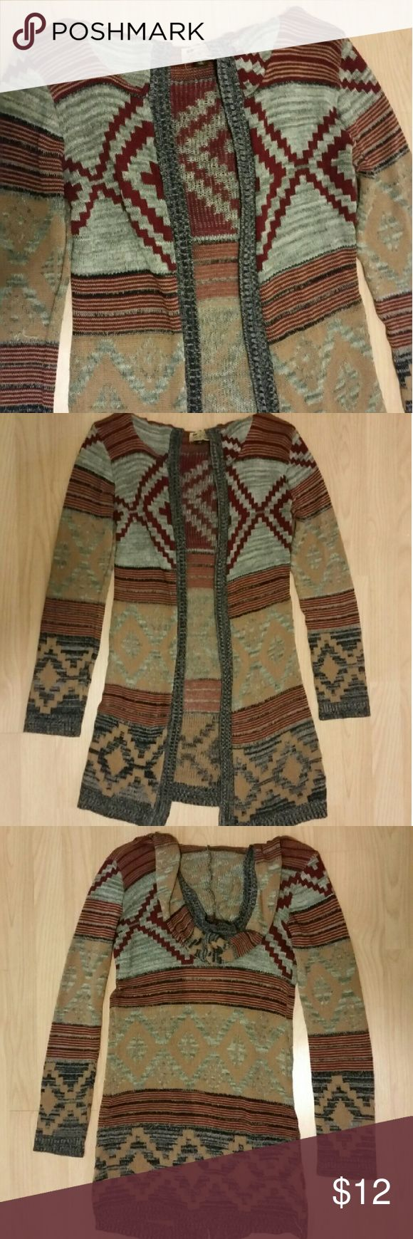 Aztec Cardigan Long cardigan with hood Say What? Sweaters Cardigans
