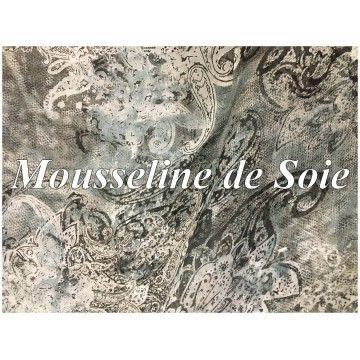 foto de Tissu Mousseline de Soie imprimé haute couture au Mètre soie pas cher motifs fleurs blanche sur